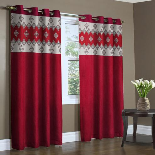 Radiant Maroon Colored Printed Curtain - Pack Of 2