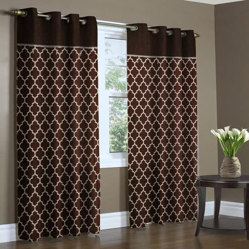 Pleasant Brown Colored Printed Curtain - Pack Of 2