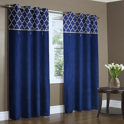 Opulent Blue Colored Printed Curtain - Pack Of 2