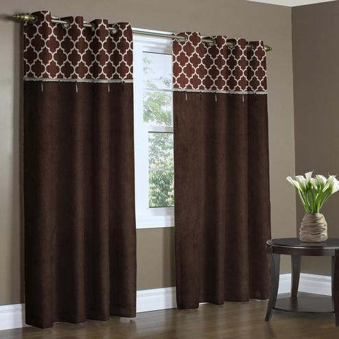 Energetic Brown Colored Printed Curtain - Pack Of 2