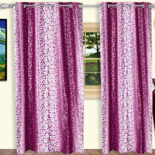 Captivating Purple Colored Printed Curtain - Pack Of 2