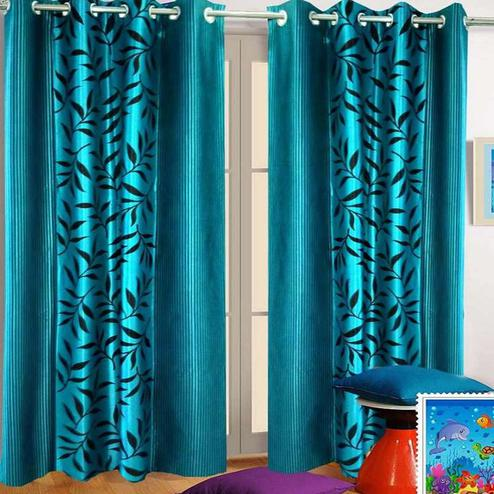 Innovative Aqua Blue Colored Printed Curtain - Pack Of 2