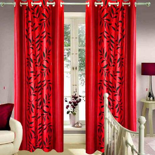 Eye-catching Red Colored Printed Curtain - Pack Of 2