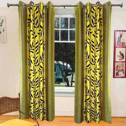 Fantastic Lemon Yellow Colored Printed Curtain - Pack Of 2