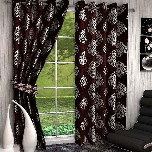 Amazing Coffee Brown Colored Printed Curtain - Pack Of 2