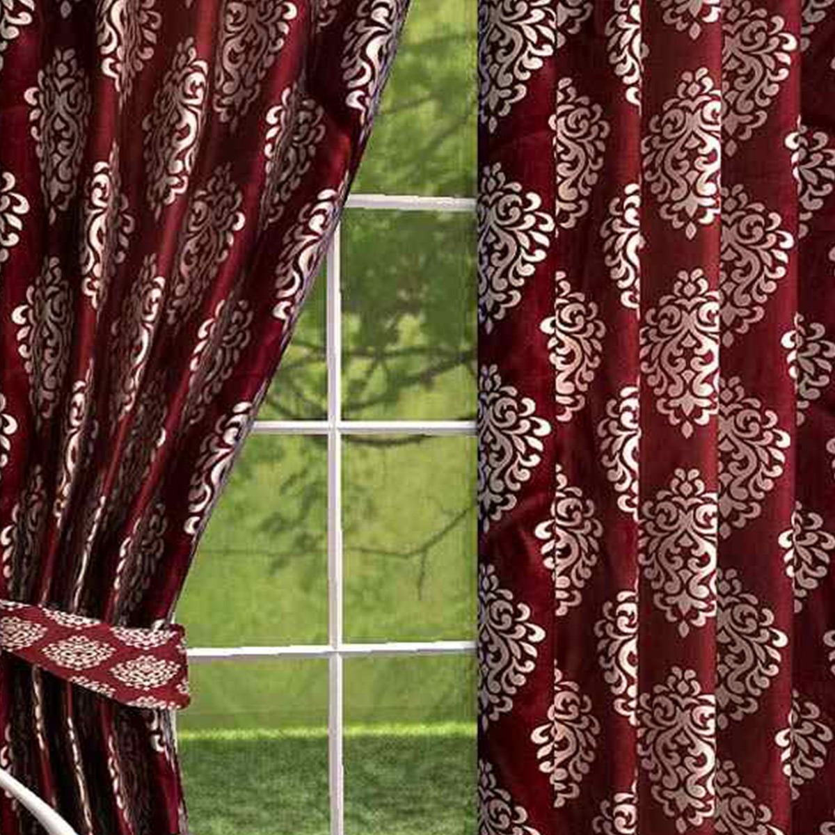 Gorgeous Maroon Colored Printed Curtain - Pack Of 2