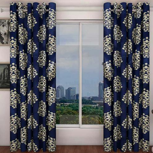 Blissful Navy Blue Colored Printed Curtain - Pack Of 2