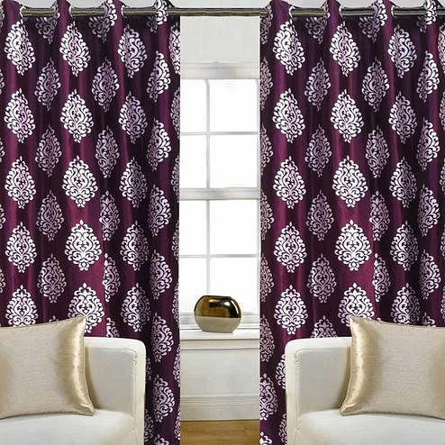Ideal Wine Colored Printed Curtain - Pack Of 2