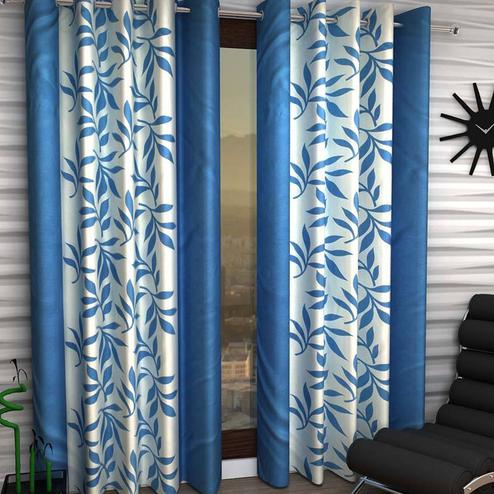 Imposing White-Blue Colored Printed Curtain - Pack Of 2