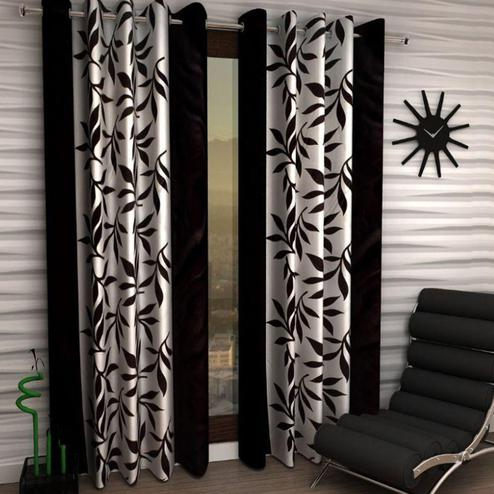 Lovely White-Black Colored Printed Curtain - Pack Of 2