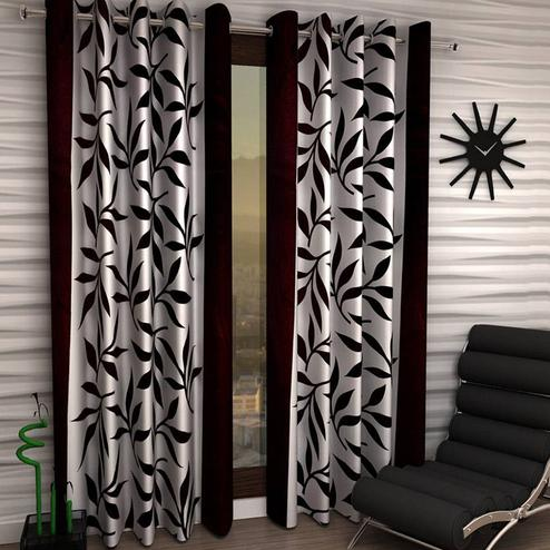 Majesty White-Brown Colored Printed Curtain - Pack Of 2