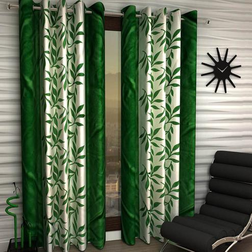 Impressive White-Green Colored Printed Curtain - Pack Of 2