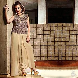 Beige Embroidered Work Party Wear Tunic