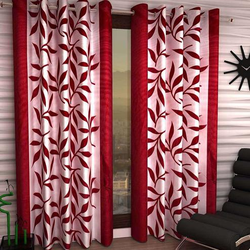 Mesmerising White-Maroon Colored Printed Curtain - Pack Of 2