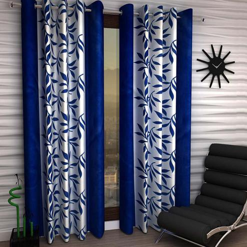 Pleasance White-Navy Blue Colored Printed Curtain - Pack Of 2