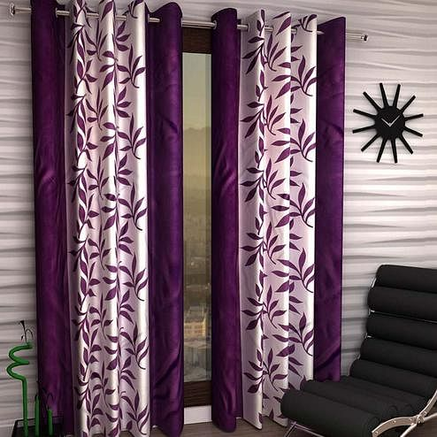 Breathtaking White-Purple Colored Printed Curtain - Pack Of 2