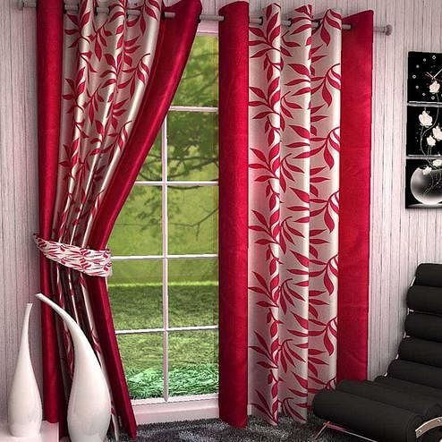 Ethnic White-Red Colored Printed Curtain - Pack Of 2