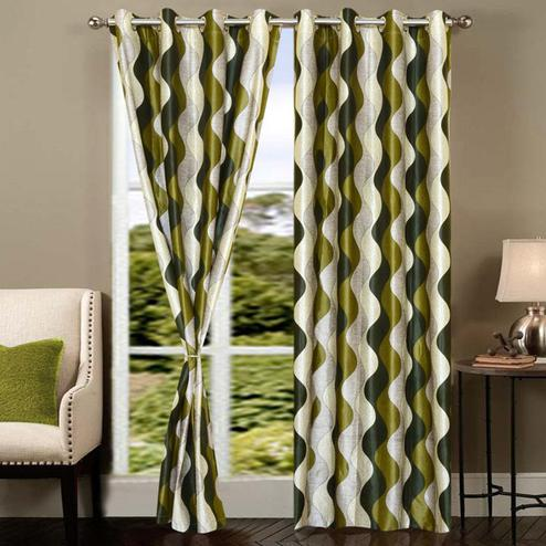 Staring Green Colored Printed Curtain - Pack Of 2