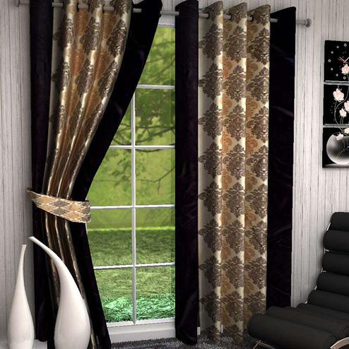 Surpassing Coffee Brown Colored Printed Curtain - Pack Of 2