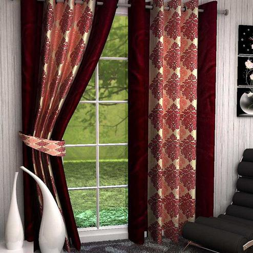 Blooming Maroon Colored Printed Curtain - Pack Of 2