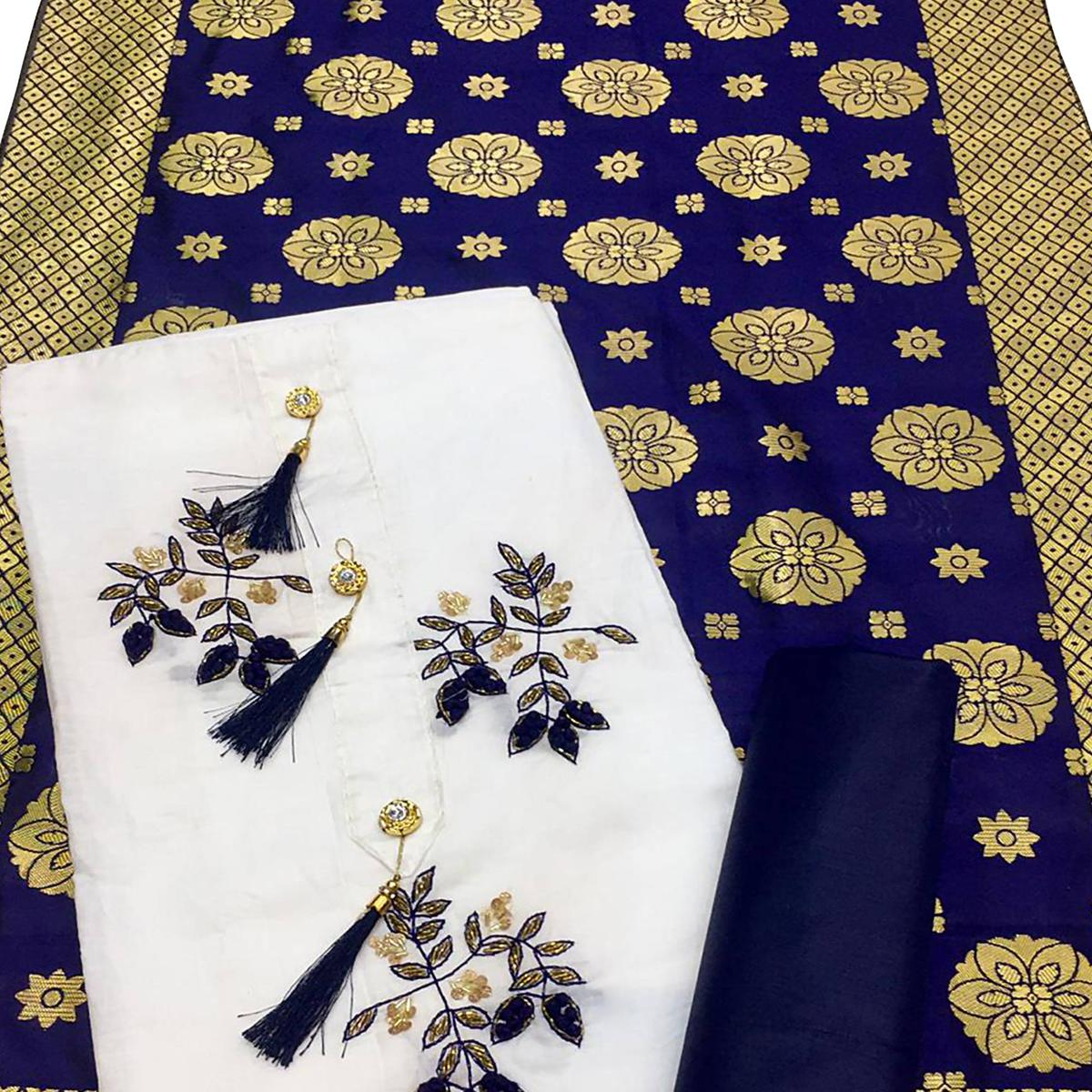 Classy White-Blue Colored Casual Wear Embroidered Cotton Dress Material With Banarasi Silk Dupatta