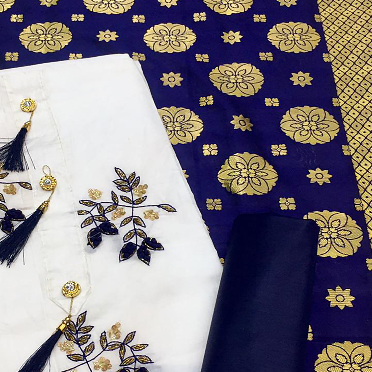 Classy White-Blue Colored Partywear Embroidered Cotton Dress Material With Banarasi Silk Dupatta