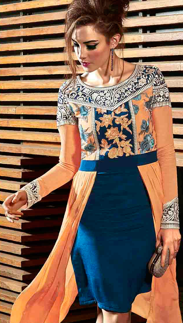 Orange - Blue Embroidered Work Tunic