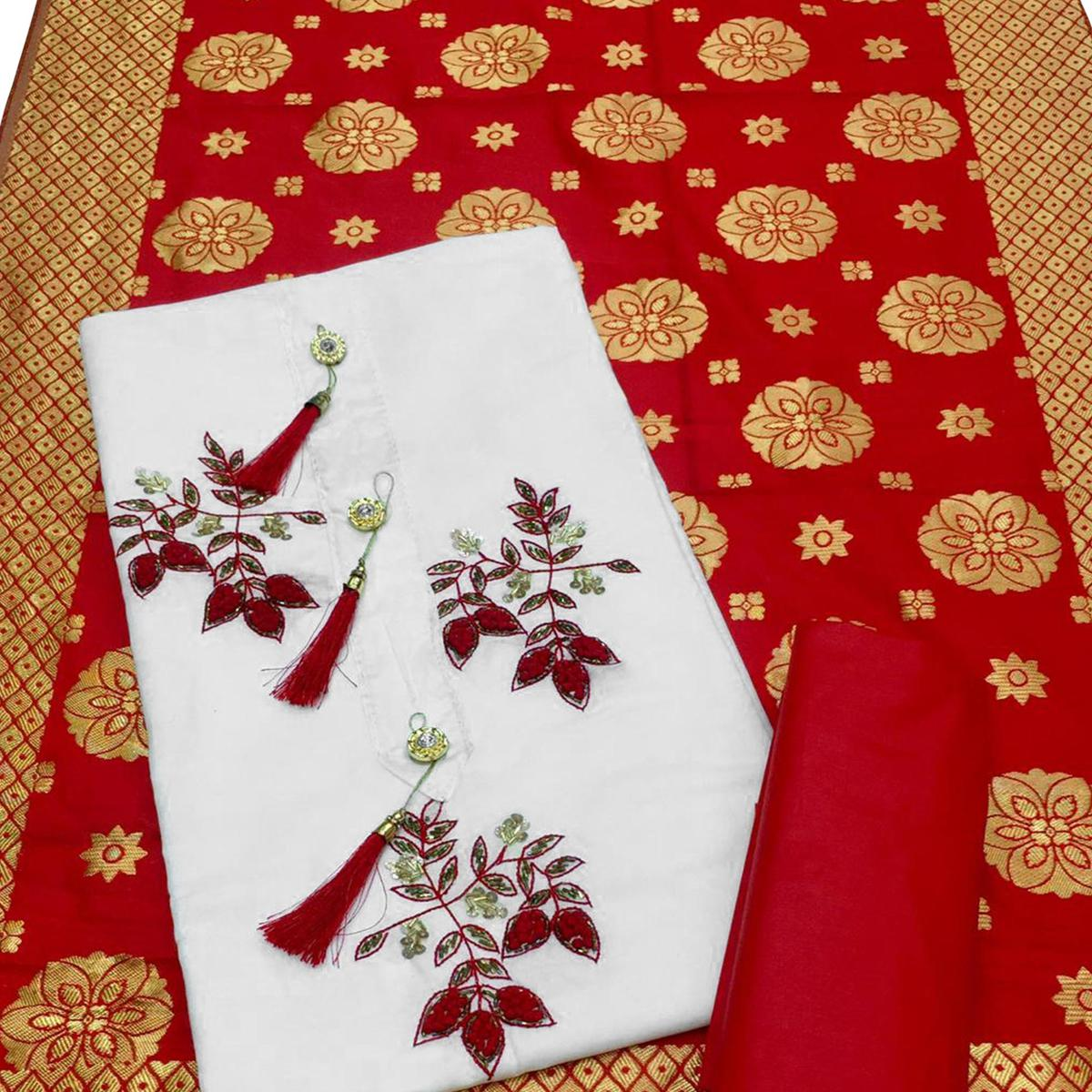 Jazzy White-Red Colored Partywear Embroidered Cotton Dress Material With Banarasi Silk Dupatta