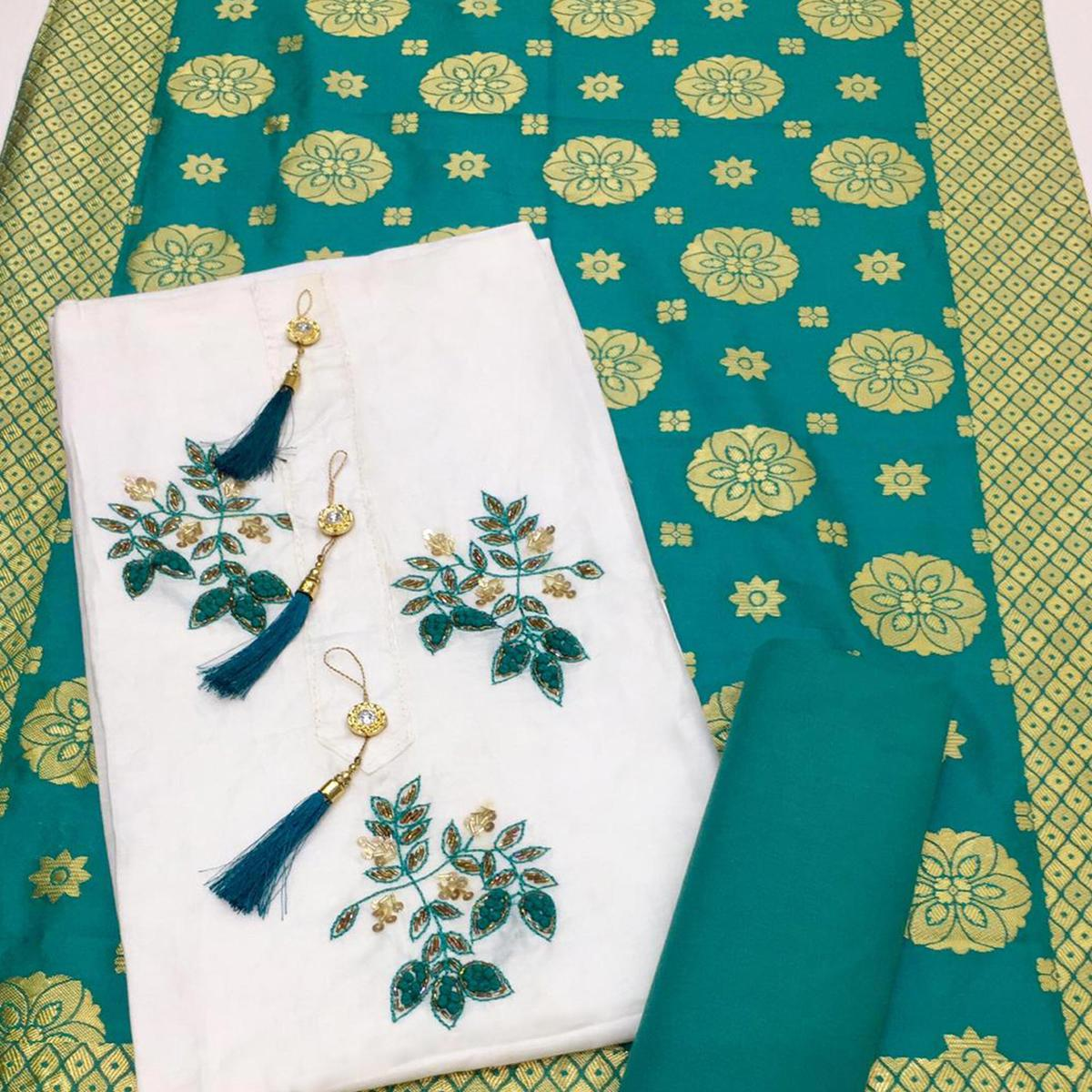 Lovely White-Green Colored Partywear Embroidered Cotton Dress Material With Banarasi Silk Dupatta