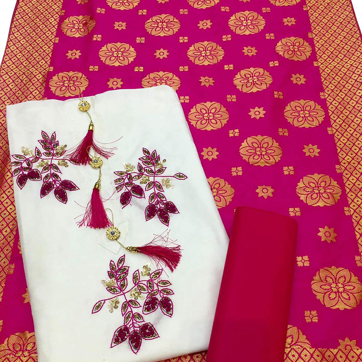 Groovy White-Pink Colored Partywear Embroidered Cotton Dress Material With Banarasi Silk Dupatta