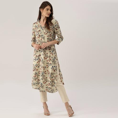 Blissful Beige Colored Casual Printed Crepe Kurti
