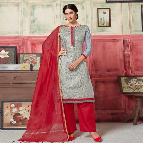 Adorning Grey Colored Festive Wear Woven Jacquard Silk Dress Material