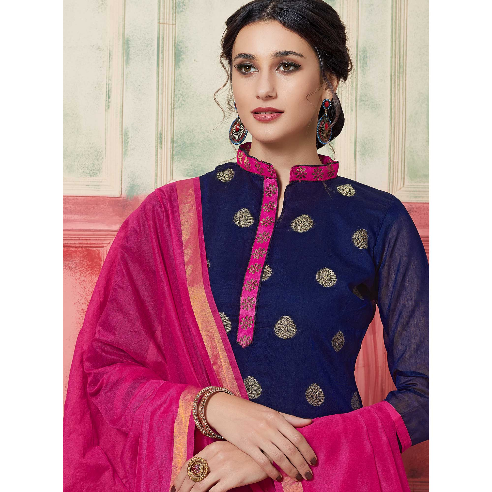 Appealing Navy Blue Colored Festive Wear Woven Jacquard Silk Dress Material