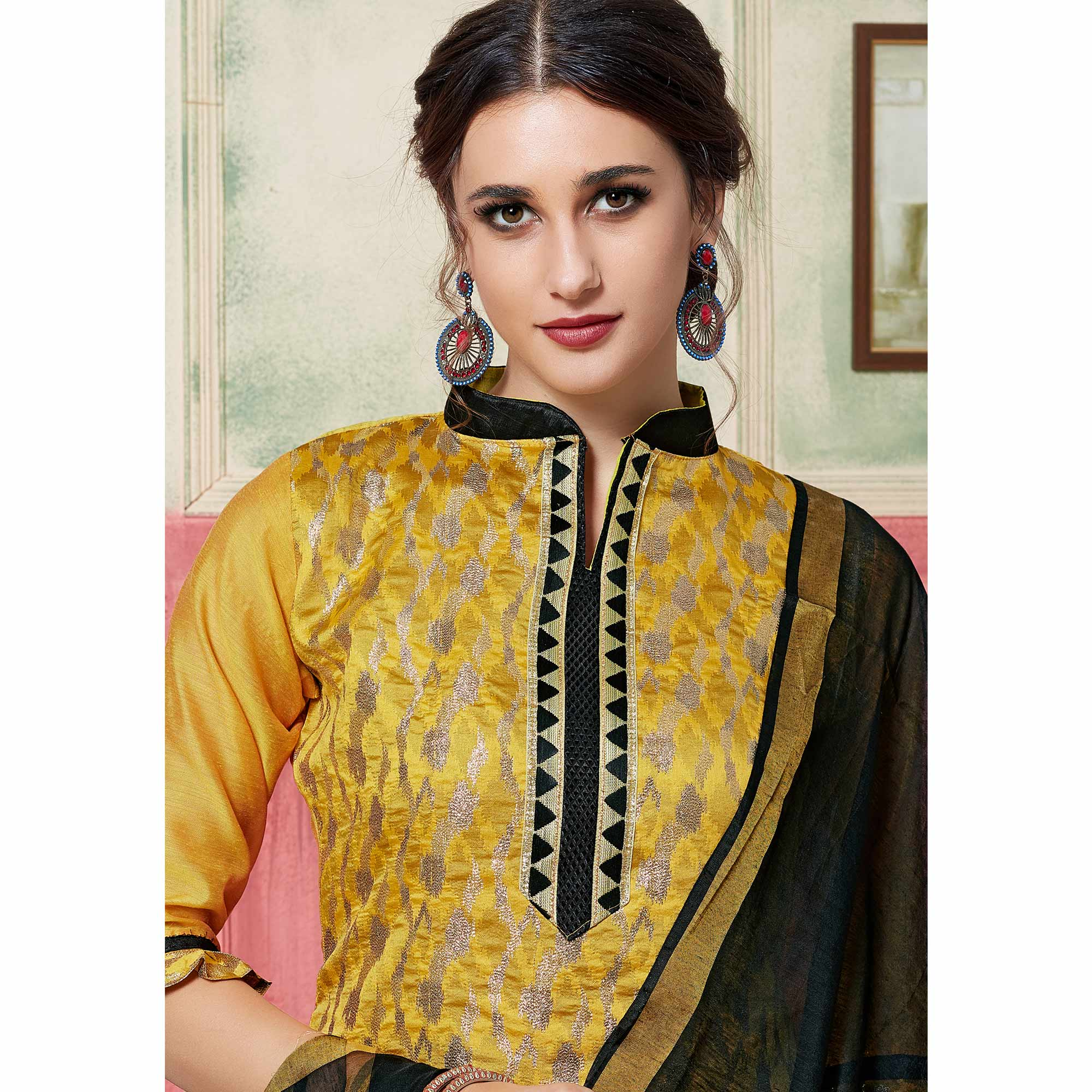 Capricious Yellow Colored Festive Wear Woven Jacquard Silk Dress Material