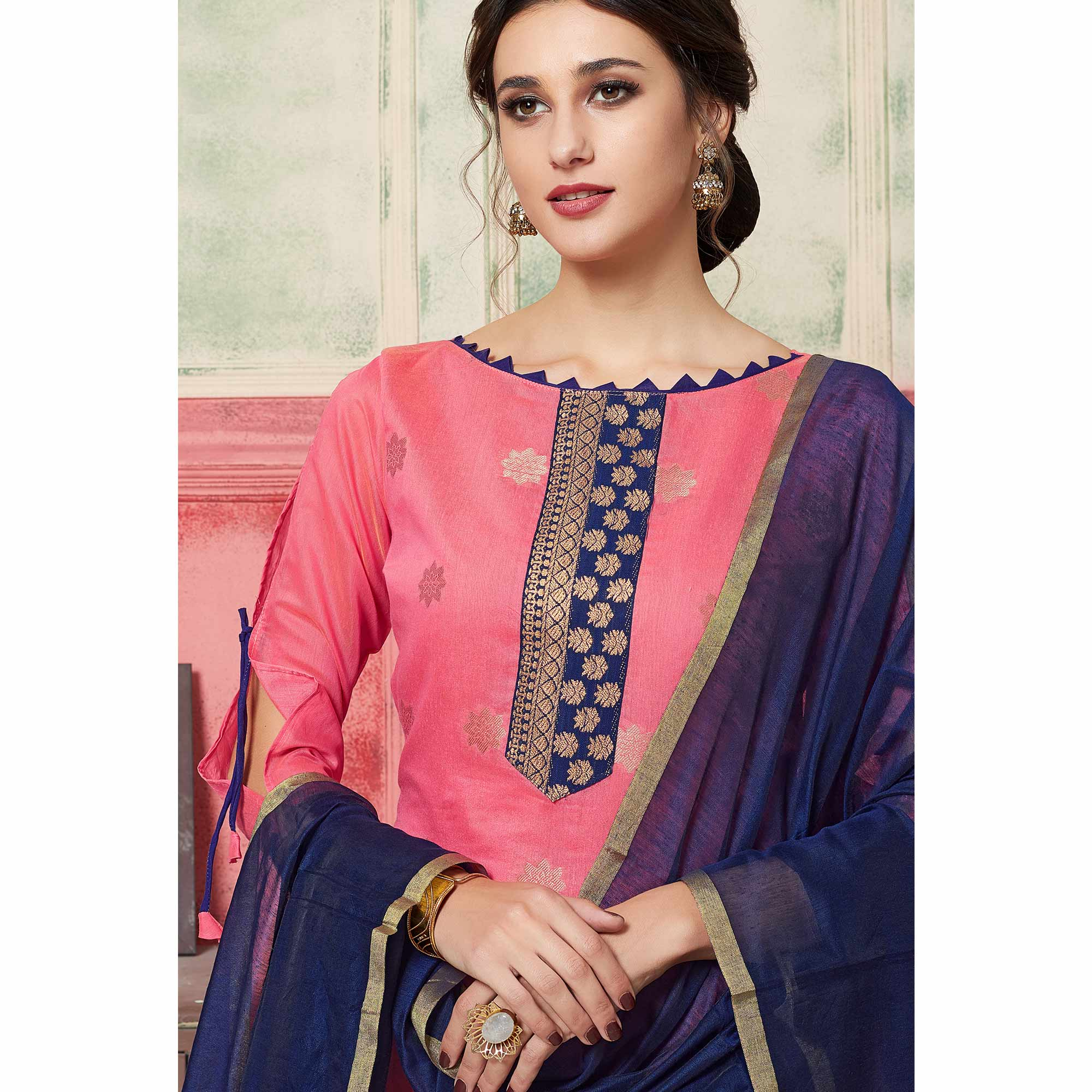 Entrancing Pink Colored Festive Wear Woven Jacquard Silk Dress Material