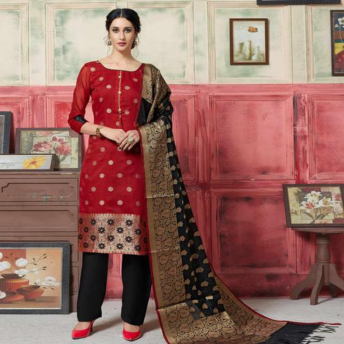 Groovy Maroon Colored Festive Wear Woven Jacquard Silk Dress Material With Banarasi Silk Dupatta