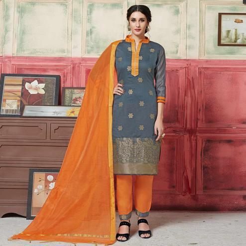 Prominent Dark Grey Colored Festive Wear Woven Jacquard Silk Dress Material