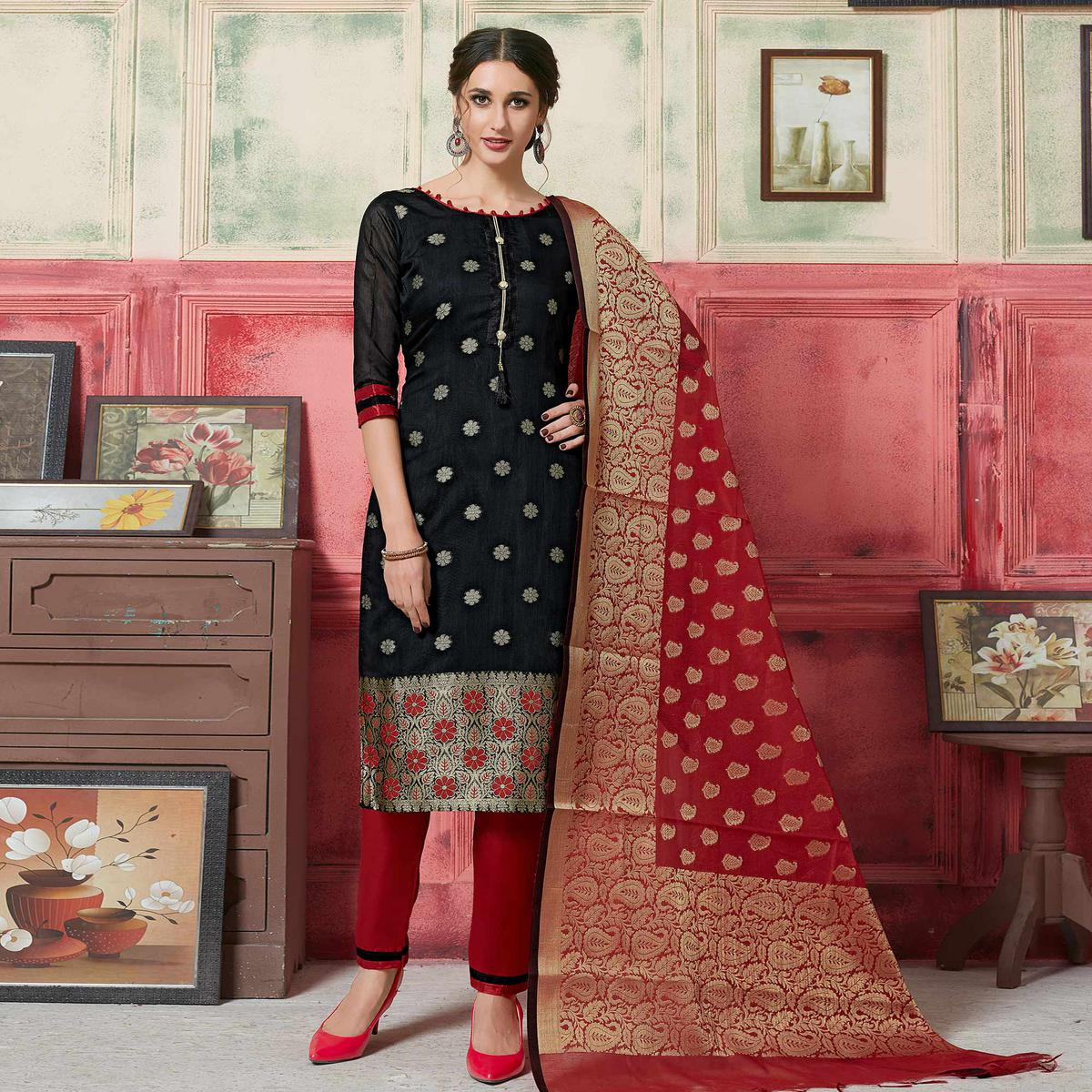 Elegant Black Colored Festive Wear Woven Jacquard Silk Dress Material With Banarasi Silk Dupatta