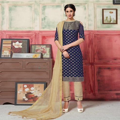 Radiant Navy Blue Colored Festive Wear Woven Jacquard Silk Dress Material