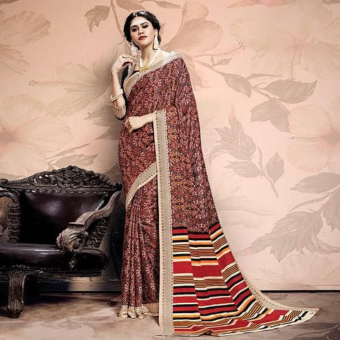 Glorious Black-Red Colored Casual Printed Pashmina Saree