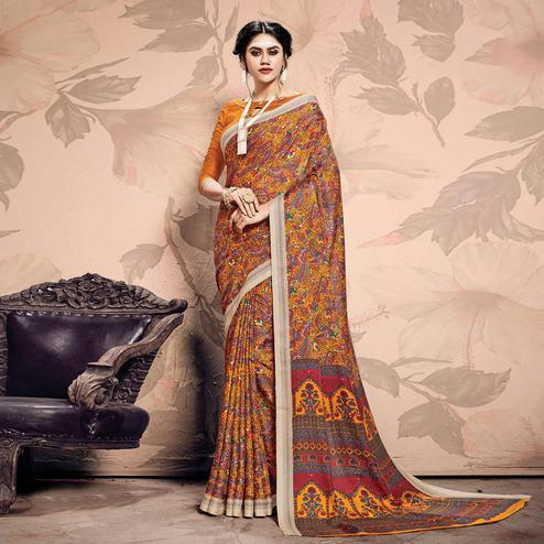 Beautiful Yellow Colored Casual Printed Pashmina Saree