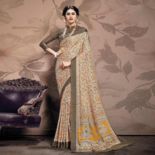 Graceful Beige Colored Casual Printed Pashmina Saree