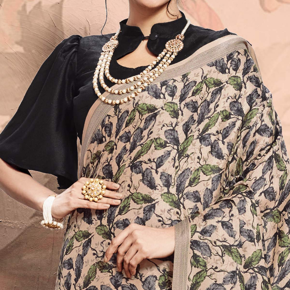 Blooming Beige Colored Casual Printed Pashmina Saree