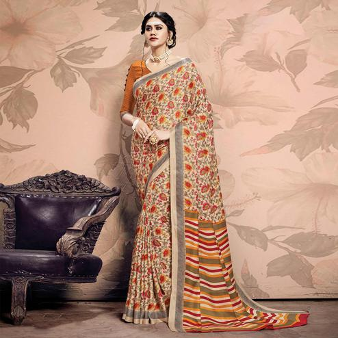 Charming Beige Colored Casual Printed Pashmina Saree