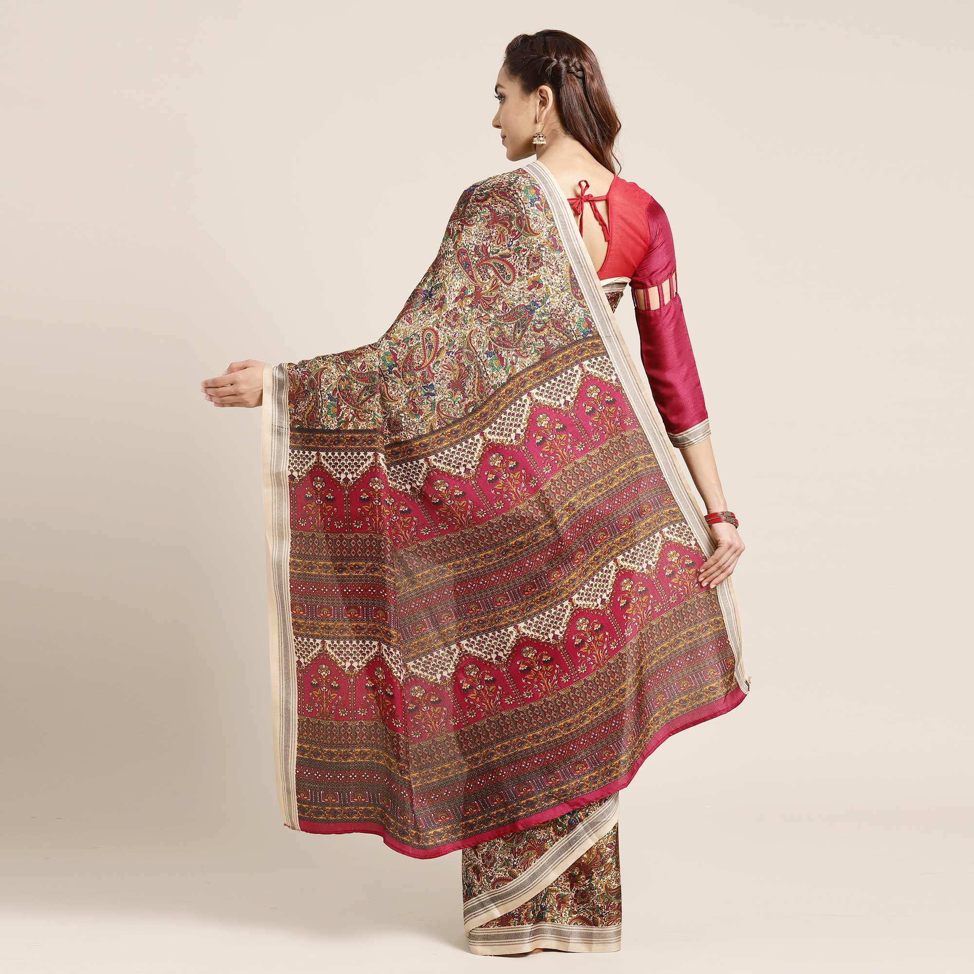 Jazzy Beige-Magenta Pink Colored Casual Printed Pashmina Saree