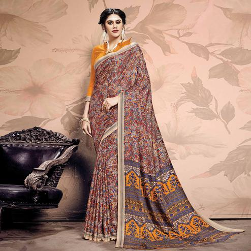Delightful Beige-Multi Colored Casual Printed Pashmina Saree
