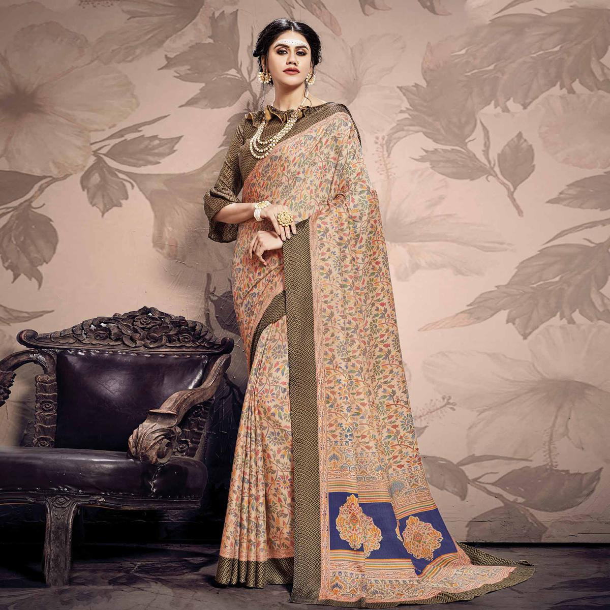 Engrossing Beige Colored Casual Printed Pashmina Saree