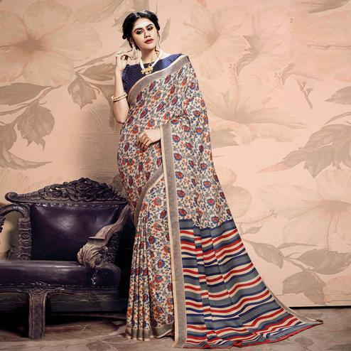 Captivating Beige-Blue Colored Casual Printed Pashmina Saree