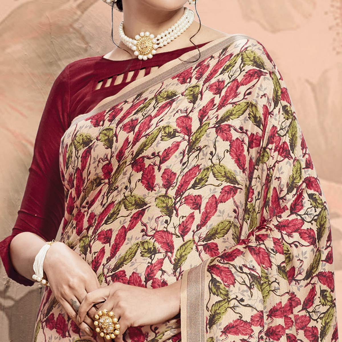 Innovative Beige-Maroon Colored Casual Printed Pashmina Saree