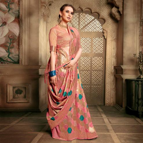 Eye-catching Pink Colored Festive Wear Woven Cotton Silk Saree